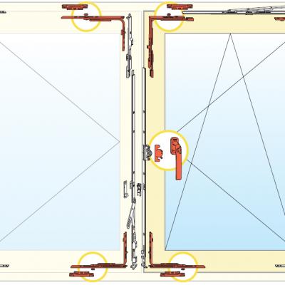 Esquema de herraje de ventana Oscilobatiente Antivandalismo Clase 1 de dos hoja de madera AGB Sistemas