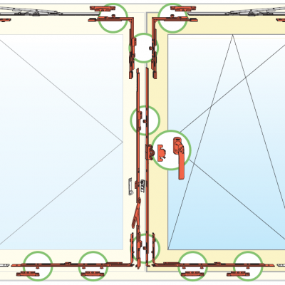 Esquema de herraje de ventana Oscilobatiente Antivandalismo Clase 2 de dos hoja de madera AGB Sistemas